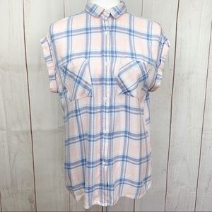 Rails Pink and Blue Plaid Button Up Collared Tee